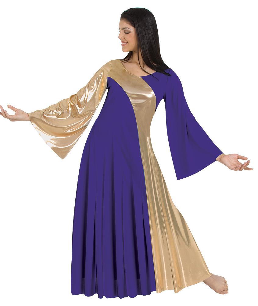 f91e5e49f Adult Praise Dance Metallic Asymmetrical Dress by Body Wrappers