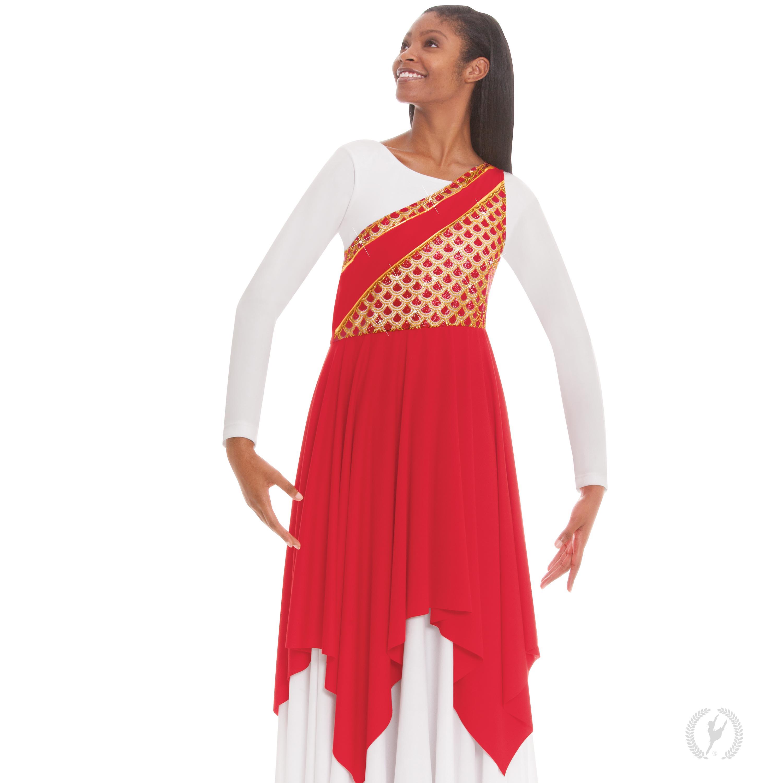 d29584b14d270 Home > Praise Dancewear > Children > Children's Blessed Grace Asymmetrical  Tunic by Eurotard
