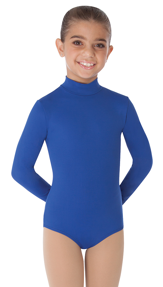 b422dc4e03712 Childrens Zip Back Mock Turtleneck Long Sleeve Leotard by Body Wrappers.  Dark Royal