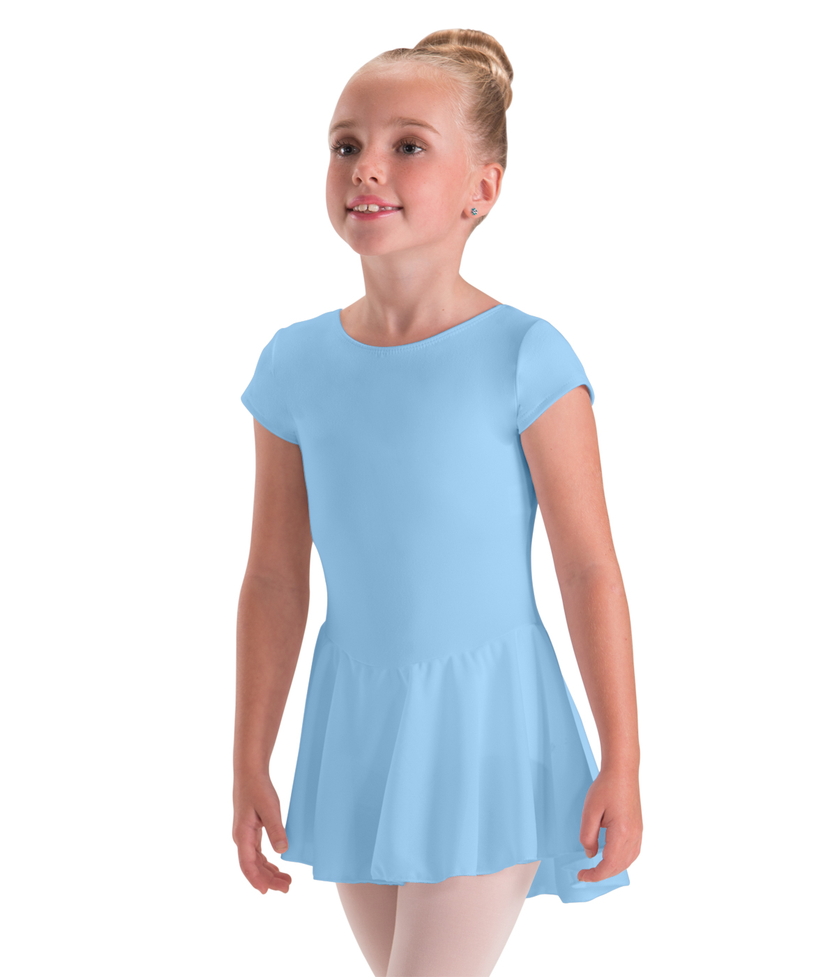 childrens bow back cap sleeve leotard with skirt attached