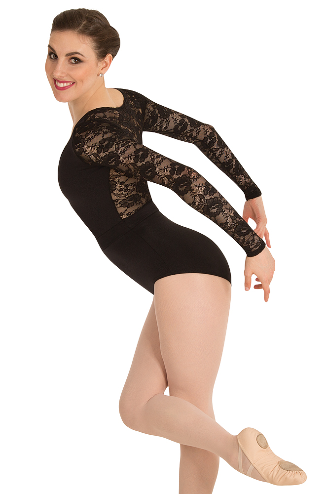 8f5ac9934d Long Sleeve Lace Back Leotard by Premiere