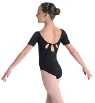 Fancy Rhinestone Back Short Sleeve Leotard