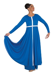 Long Sleeve Cross Dress with Contrast Front Cross by Body Wrappers