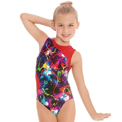 Contrast Metallic Graffiti Leotard by Eurotard