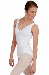 V-Neck Pinch Front Leotard with Belt by Capezio