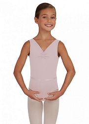 Childrens V-Neck Pinch Front Leotard with Belt by Capezio