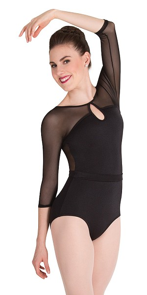 Mesh 3/4 Sleeve Keyhole Leotard by Premiere