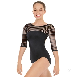 Women's Striped Mesh 3/4 Sleeve Leotard by Eurotard