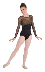 Diamond Mesh Long Sleeve Leotard by Premiere