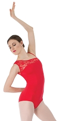 Asymmetrical Lace Shoulder Leotard by Premiere